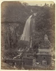 [View of the falls and temples at] Mucktagiri [Muktagiri]